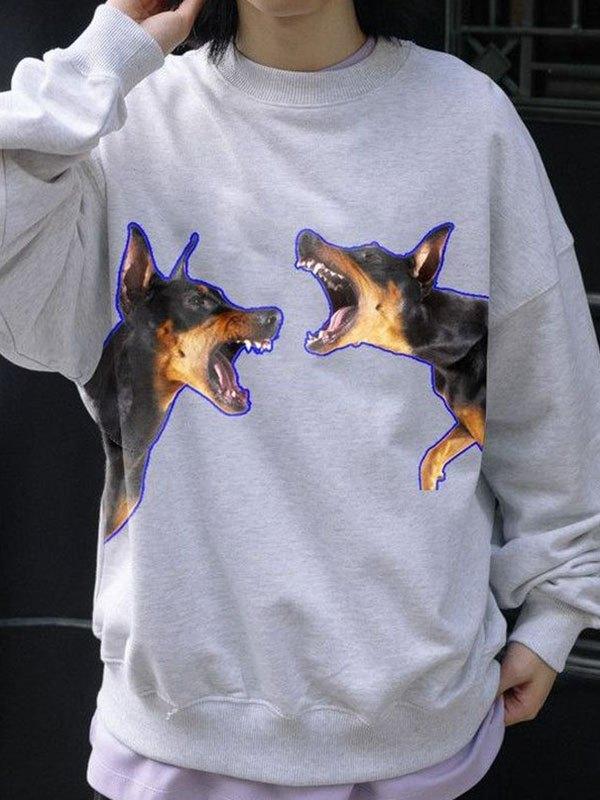 Men's Barking Dog Printed Sweatshirt - White 2XL