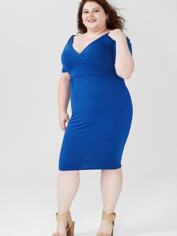 Elegant Cold-shoulder Ruched Midi Dress - Blue 4XL