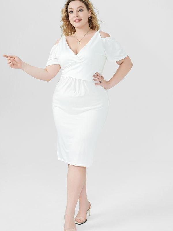 Elegant Cold-shoulder Ruched Midi Dress - White 2XL