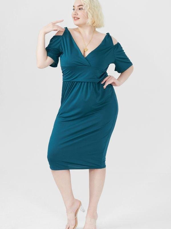 Elegant Cold-shoulder Ruched Midi Dress - Dark Green L