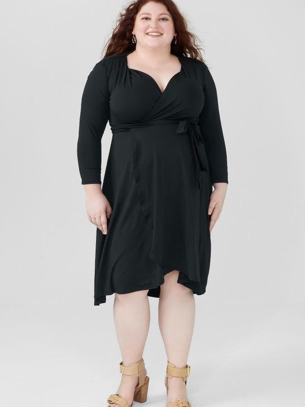 Belted Waist Semi Formal Wrap Midi Dress - Black 5XL
