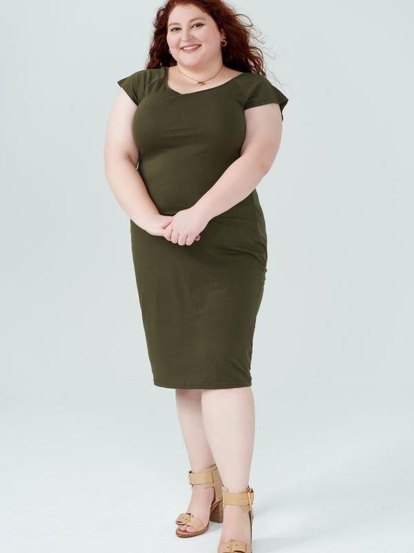 Bodycon U-neck Stretch Midi Dress - Army Green XL