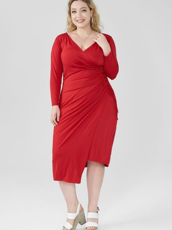 Lace-up Half Sleeves Wrap Midi Dress - Red L