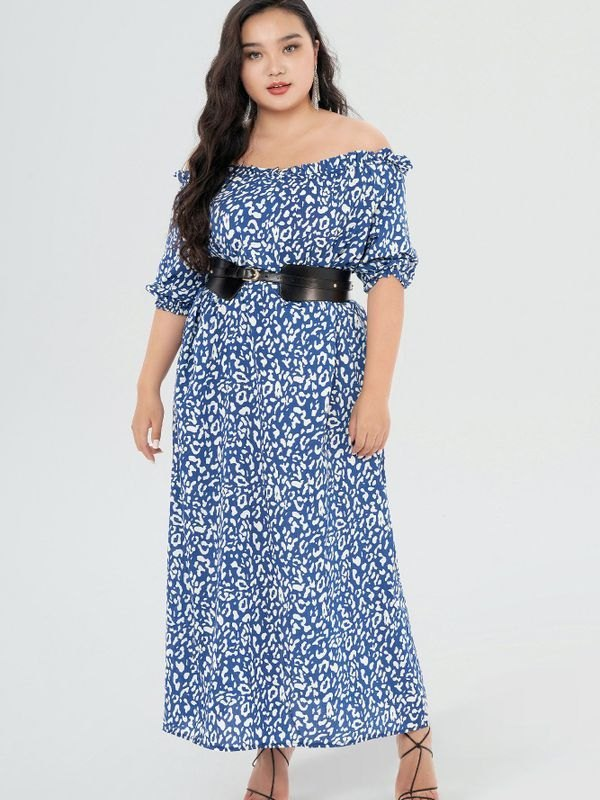Leopard Print Off Shoulder Maxi Dress - Blue 5XL