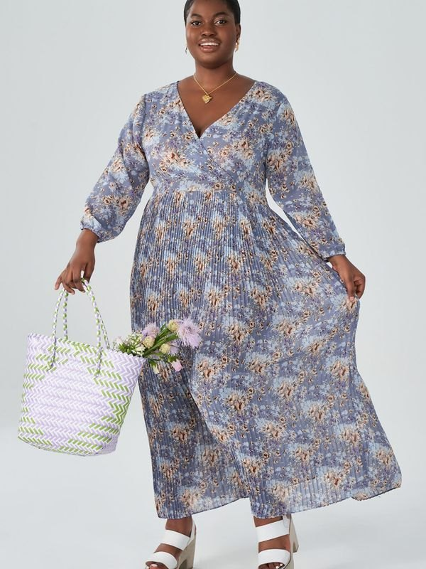 Floral Puff Sleeve Pleated Maxi Wrap Dress - Beige 2XL