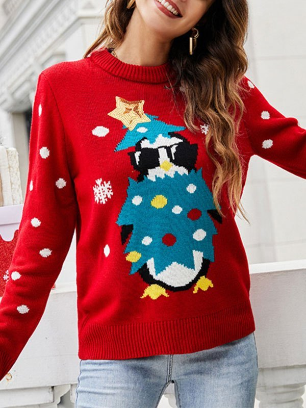 Sequin Paneled Christmas Sweater - Red M