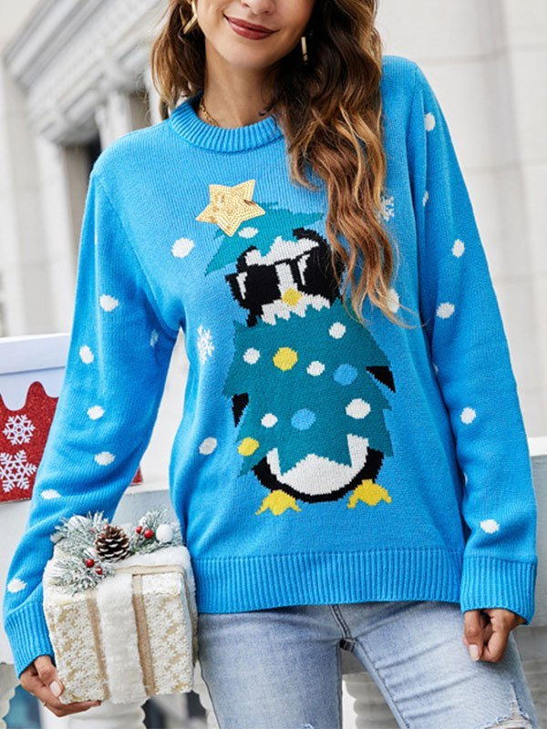 Sequin Paneled Christmas Sweater - Blue L