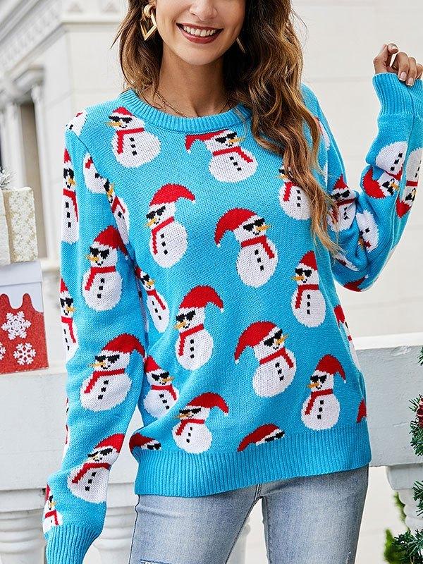 Christmas Snowman Crew Neck Sweater - Blue L