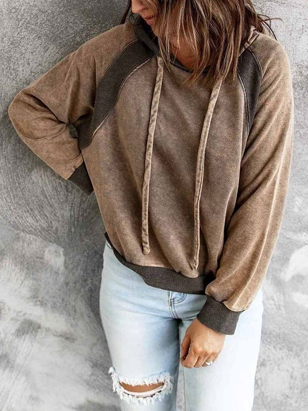 Patchwork Long Sleeve Hoodie - Brown M
