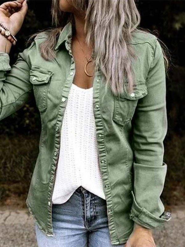 Frill Trim Buttoned Denim Jacket - Green L
