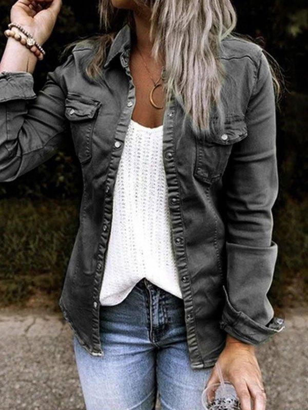 Frill Trim Buttoned Denim Jacket - Black S