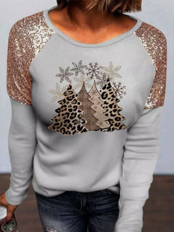 Sequin Paneled Long Sleeve Christmas Top - Gray S
