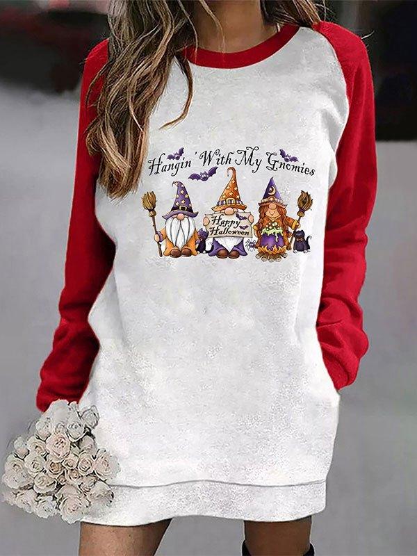 Christmas Raglan Sleeve Longline Sweatshirt - Red L