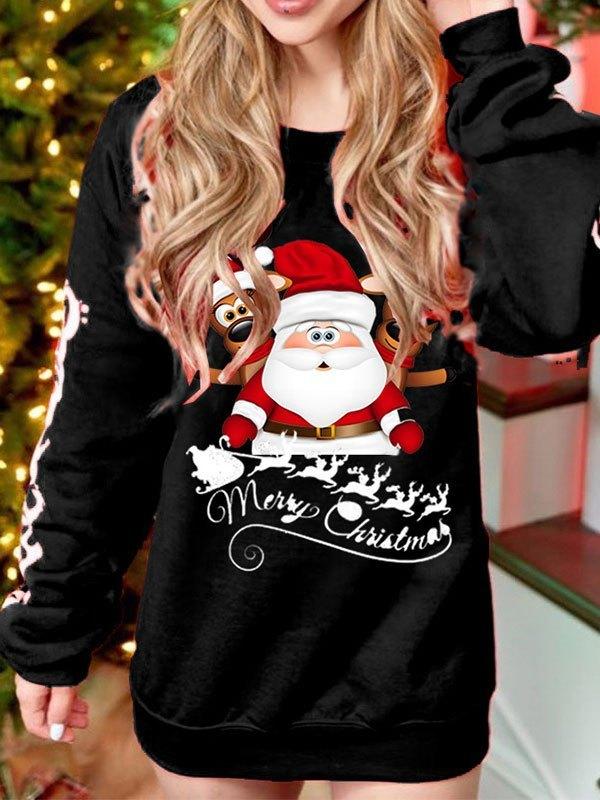 Christmas Printed Pullover Sweatshirt - Black M