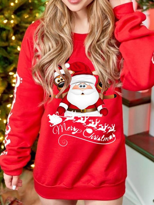 Christmas Printed Pullover Sweatshirt - Red M