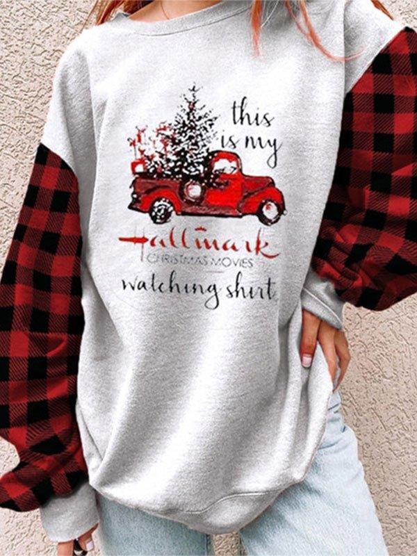 Checkered Raglan Sleeve Christmas Sweatshirt - Gray L