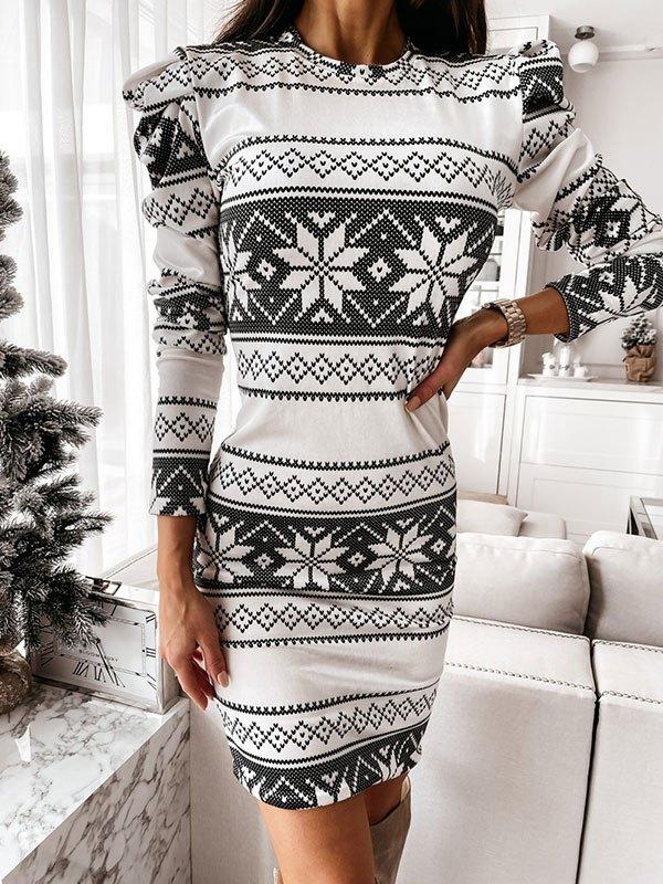 Christmas Long Sleeve Mini Dress - White S