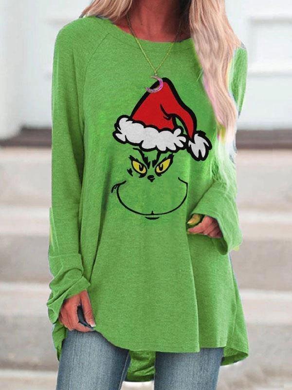 Long Sleeve Christmas Grinch Longline Tee - Green M