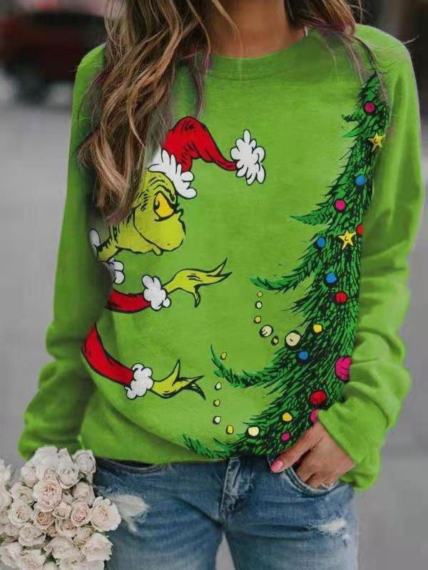 Christmas Grinch Crew Sweatshirt - Green L