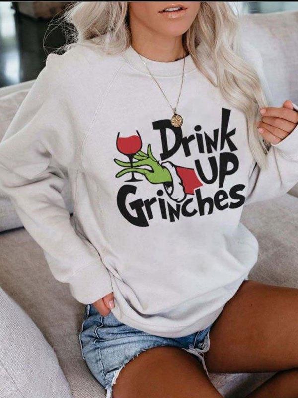 Drunk Grinch Printed Sweatshirt - White L