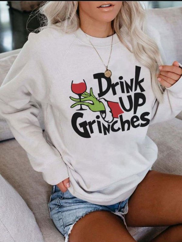 Drunk Grinch Printed Sweatshirt - White S