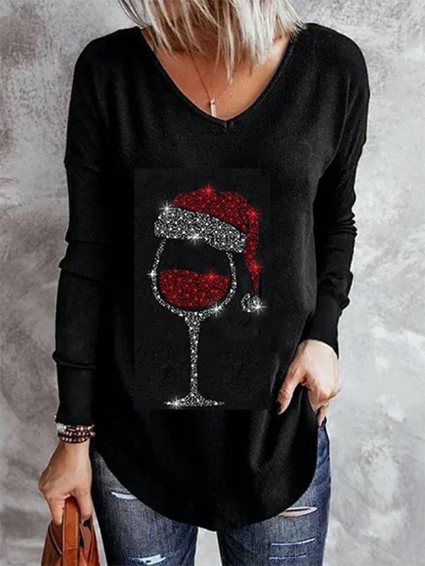 Christmas Wine Long Sleeve Top - Black L