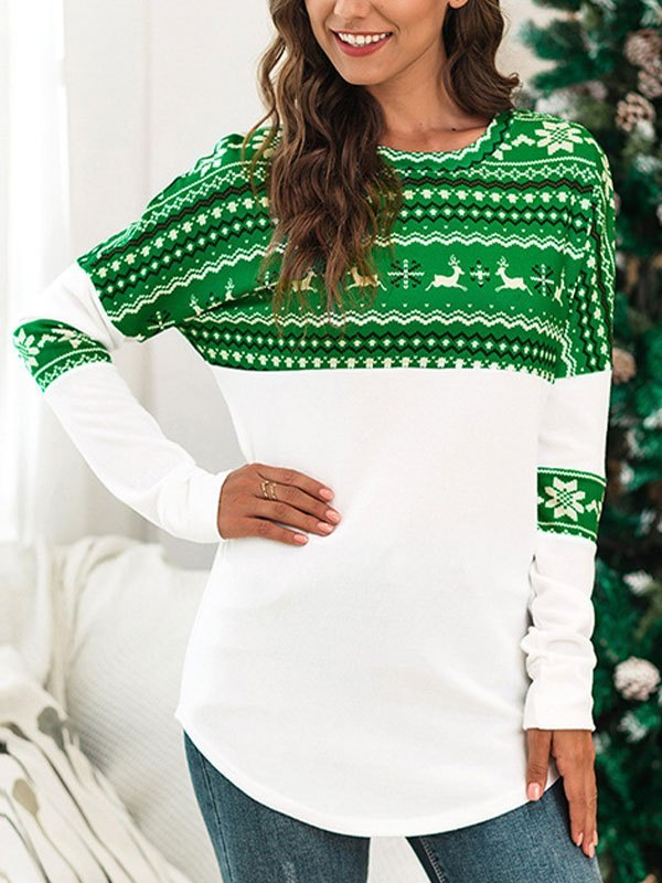 Patchwork Long Sleeve Christmas Tee - Green L