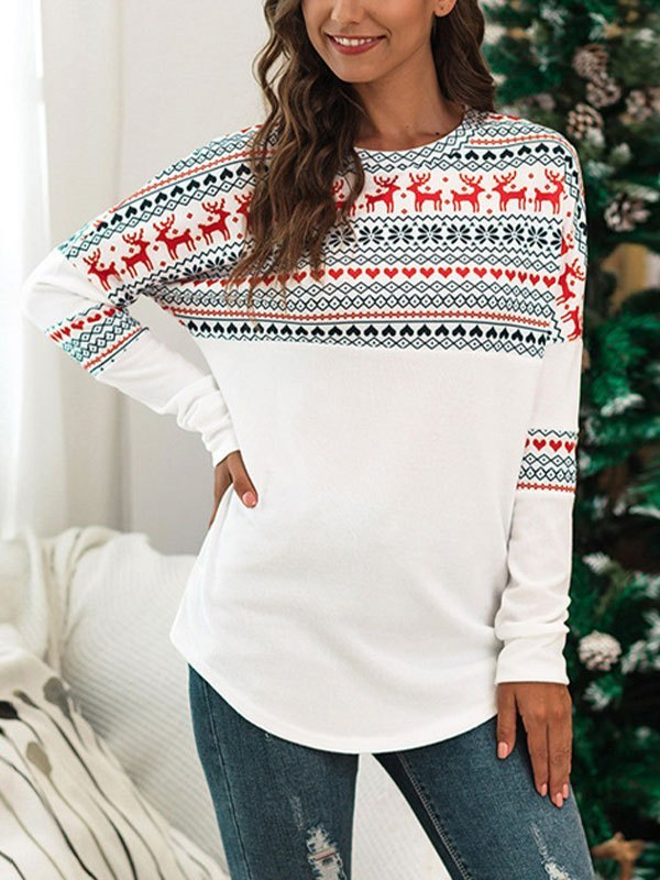 Patchwork Long Sleeve Christmas Tee - White M