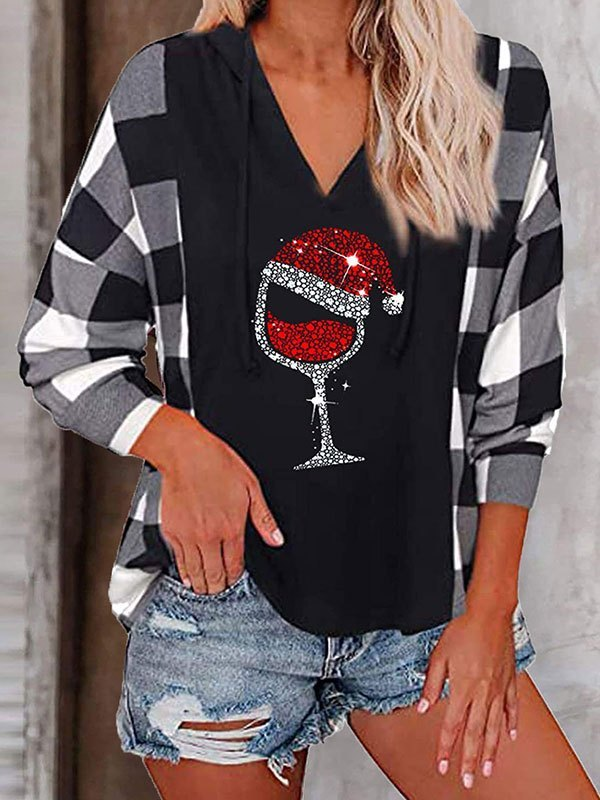 Checkered Patchwork Christmas Wine Hoodie - Gray S