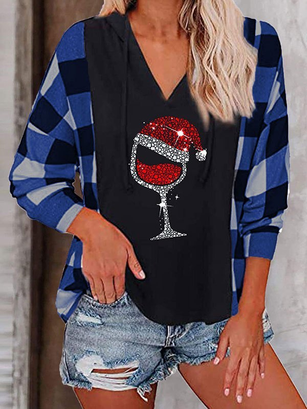 Checkered Patchwork Christmas Wine Hoodie - Blue S