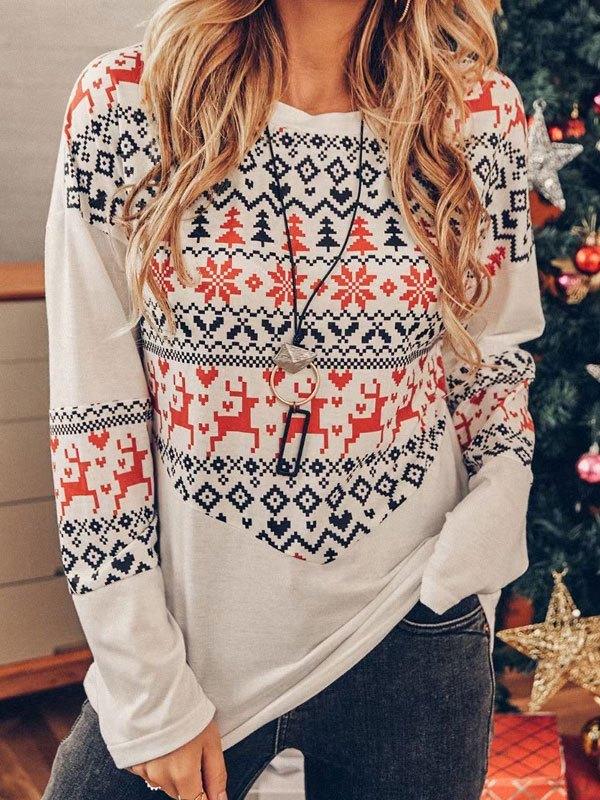 Christmas Print Long Sleeve Top - White M