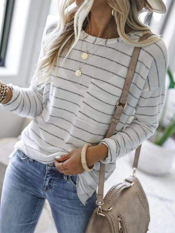 Pocket Striped Pullover Sweatshirt - White L