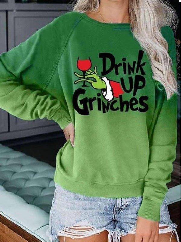 Ombre Grinch Graphic Sweatshirt - Green S