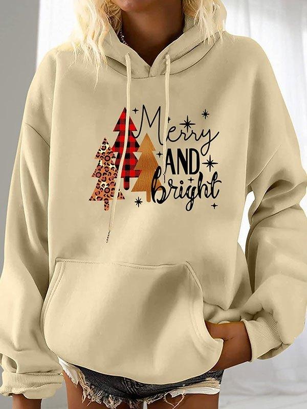 Christmas Tree Print Hoodie - Apricot M