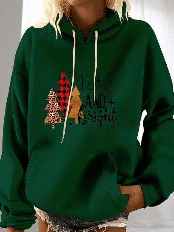 Christmas Tree Print Hoodie - Green M
