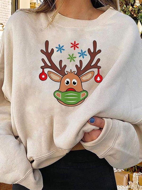 Crew Neck Christmas Sweatshirt - Green M