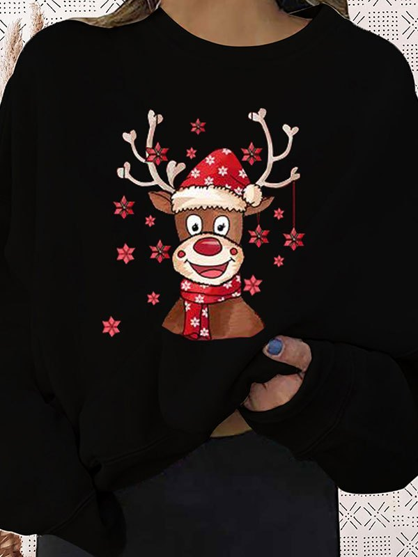 Christmas Moose Graphic Sweatshirt - Black S