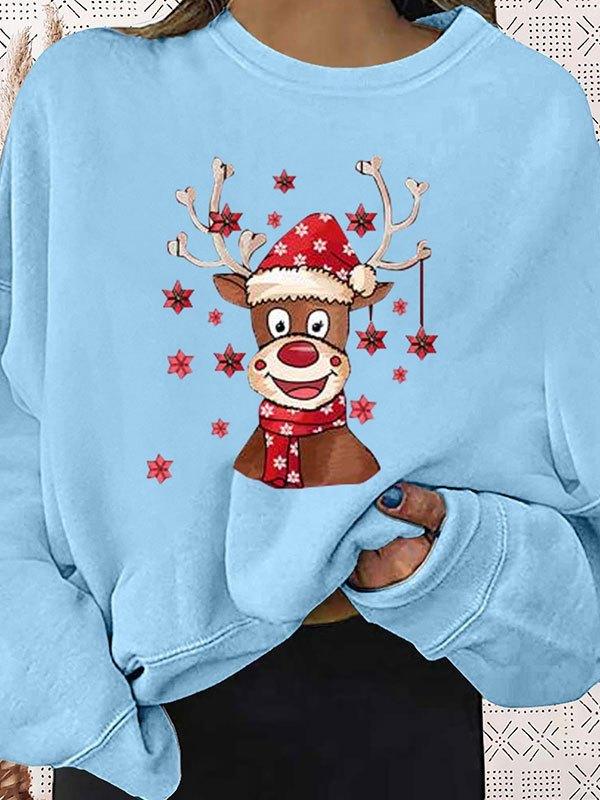 Christmas Moose Graphic Sweatshirt - Blue L
