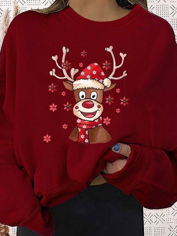 Christmas Moose Graphic Sweatshirt - Burgundy L
