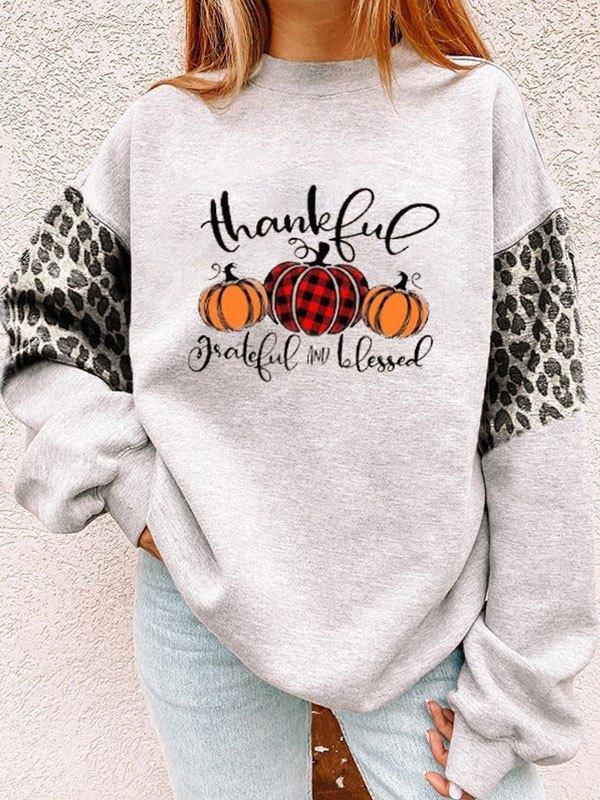Leopard Patchwork Pumpkin Print Sweatshirt - Gray S