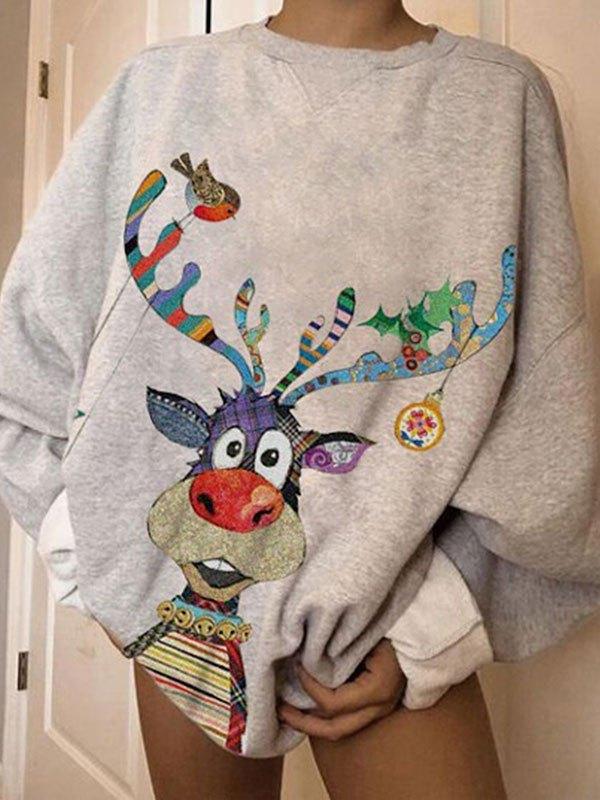 Christmas Elk Oversized Sweatshirt - Gray L