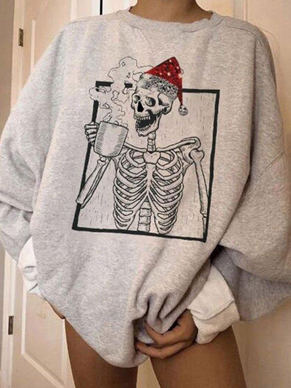 Oversized Christmas Skull Sweatshirt - Gray M