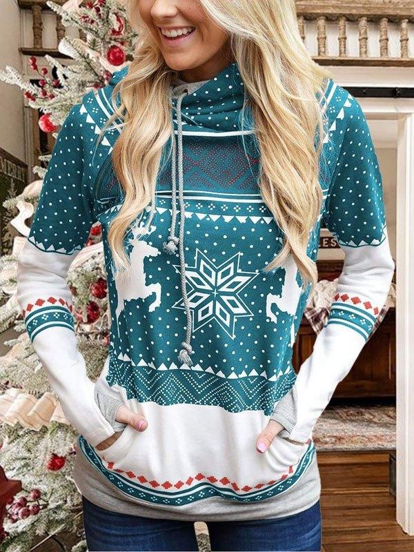 Christmas Snowflake Print Hoodie - Green M