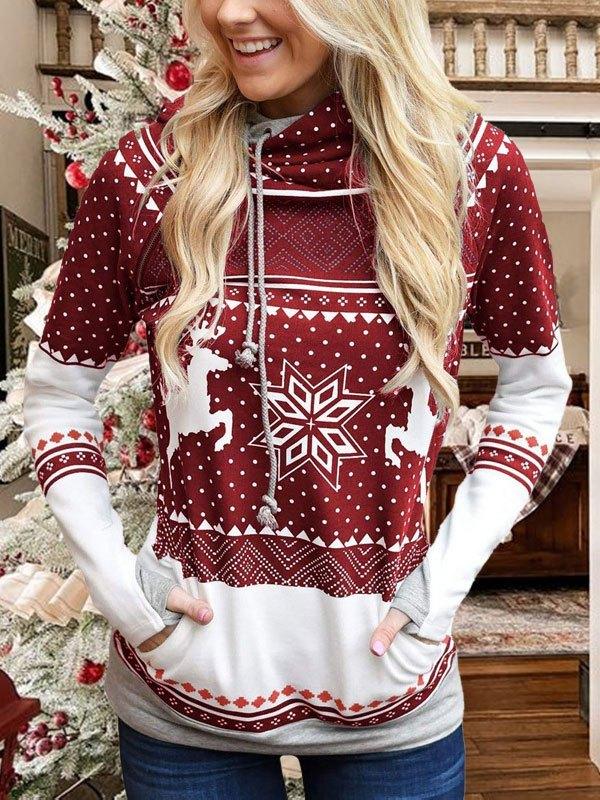 Christmas Snowflake Print Hoodie - Red S