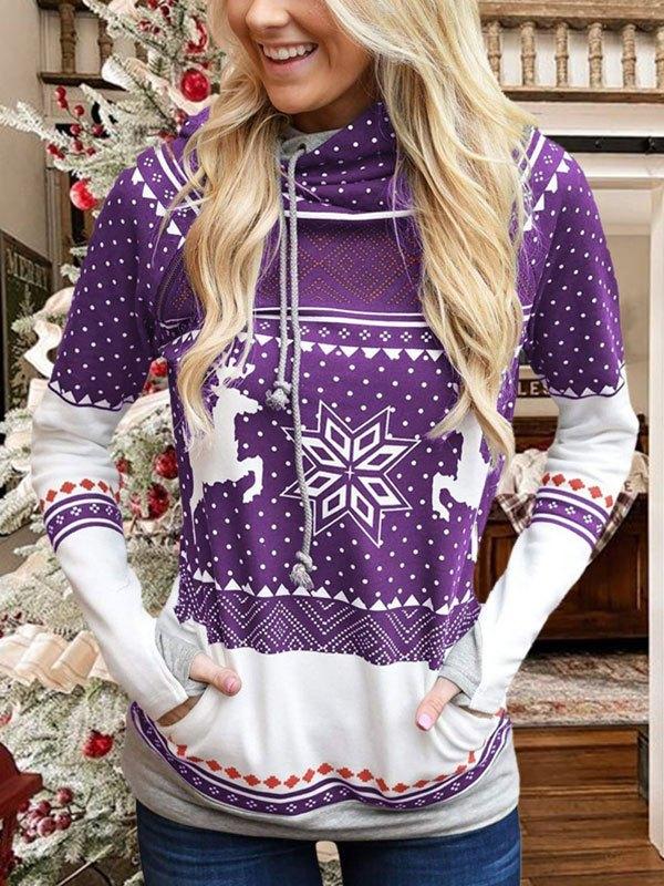 Christmas Snowflake Print Hoodie - Purple S