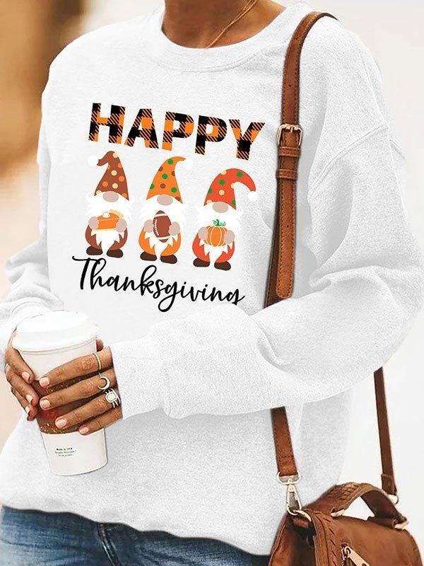 Christmas Print Crew Sweatshirt - White L