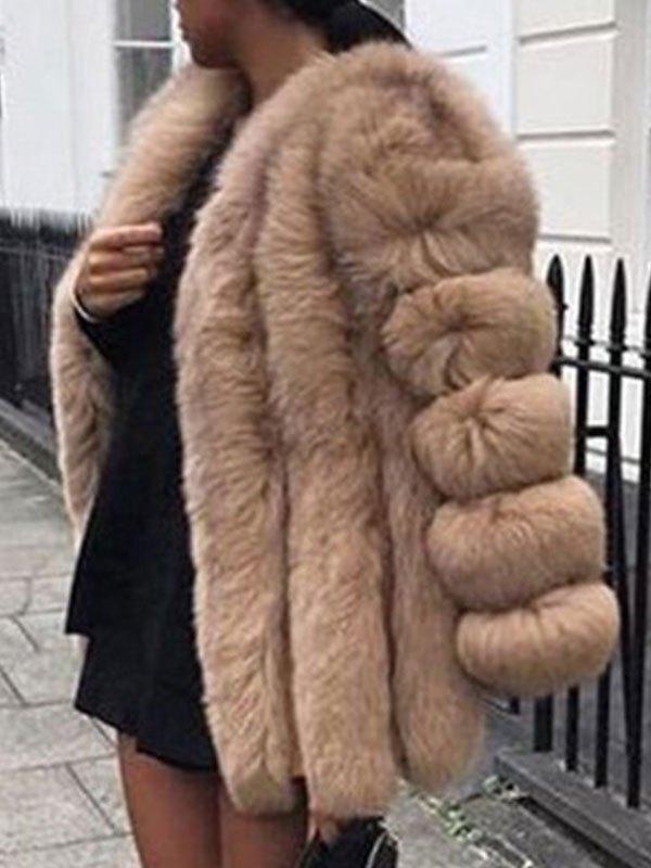 Longline Faux Fur Jacket - Camel M