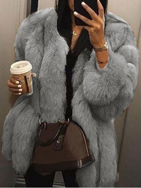 Longline Faux Fur Jacket - Gray S