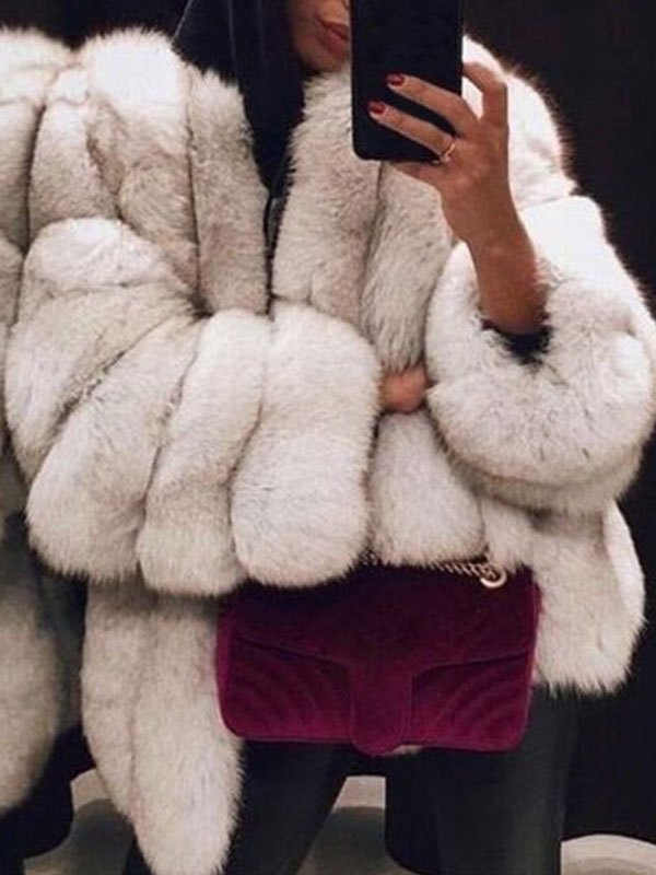 Longline Faux Fur Jacket - White L