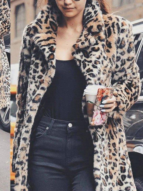 Leopard Longline Faux Fur Jacket - Cream M